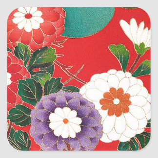 ヴィンテージの日本のな織物-赤いダリア スクエアシール