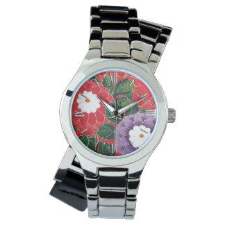 ヴィンテージの日本のな織物-赤いダリア 腕時計