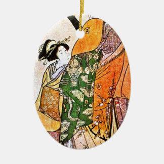 ヴィンテージの日本のな芸者のアートワーク セラミックオーナメント