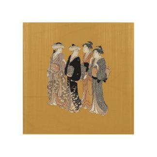 ヴィンテージの日本のな芸者の女性のグループ ウッドウォールアート