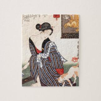 ヴィンテージの日本のな芸者女の子の芸術 ジグソーパズル
