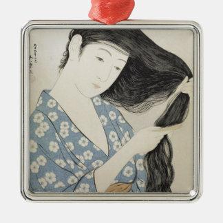 ヴィンテージの日本のな芸者女の子の芸術 メタルオーナメント