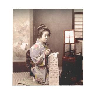 ヴィンテージの日本のな芸者-手紙を書く人 ノートパッド