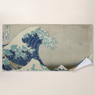 ヴィンテージの日本のな芸術、Hokusai著素晴らしい波 ビーチタオル