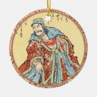 ヴィンテージの日本の武士のスケッチの入れ墨のHokusaiの芸術 セラミックオーナメント