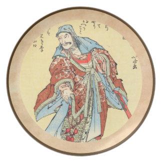 ヴィンテージの日本の武士のスケッチの入れ墨のHokusaiの芸術 プレート