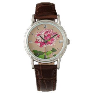 ヴィンテージの日本人のアジサイ。 ピンクおよび緑 腕時計