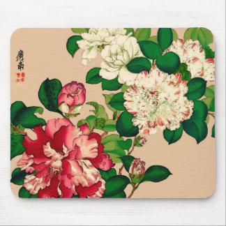 ヴィンテージの日本人のツバキ。 ベージュ色で濃いピンク マウスパッド