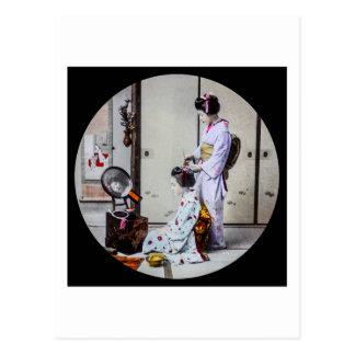 ヴィンテージの日本人の芸者に服を着せる芸者の毛 ポストカード