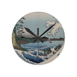 ヴィンテージの日本語Sattaの海 ラウンド壁時計