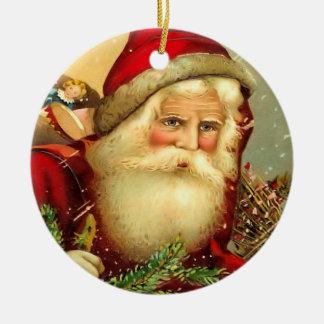 ヴィンテージの旧世界のサンタのクリスマスのオーナメント セラミックオーナメント