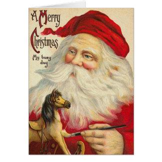 ヴィンテージの旧世界のサンタのクリスマスカード カード