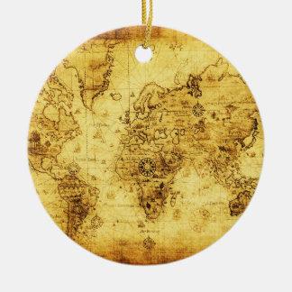 ヴィンテージの旧世界の地図のオーナメント セラミックオーナメント