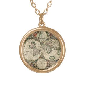 ヴィンテージの旧世界の地図のネックレス ゴールドプレートネックレス