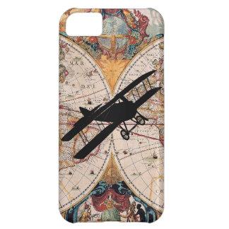 ヴィンテージの旧世界の地図の複葉機の飛行士のパイロットの例 iPhone5Cケース