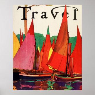 ヴィンテージの旧式なイタリア旅行雑誌の魚釣り ポスター