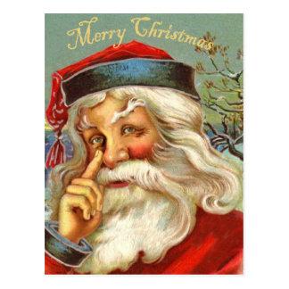 ヴィンテージの旧式なサンタのクリスマスの郵便はがき ポストカード