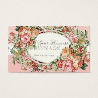 ヴィンテージの旧式なバラの花花束のモダンの渦巻 名刺