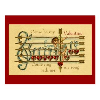 ヴィンテージの旧式なバレンタインデーのミュージカルの郵便はがき ポストカード