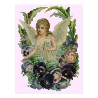 ヴィンテージの旧式な天使の花の柔らかいピンクの郵便はがき ポストカード