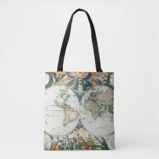 ヴィンテージの旧式な旧世界の地図Pieterのべたつく物によって1666年 トートバッグ