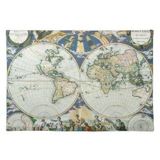 ヴィンテージの旧式な旧世界の地図Pieterのべたつく物によって1666年 ランチョンマット
