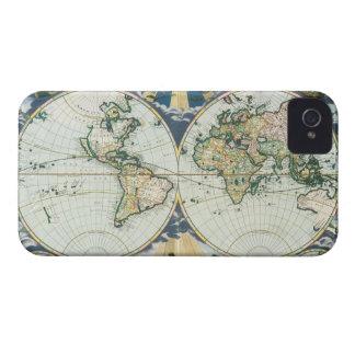 ヴィンテージの旧式な旧世界の地図Pieterのべたつく物によって1666年 Case-Mate iPhone 4 ケース