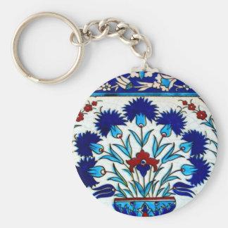 ヴィンテージの旧式な花柄の抽象芸術のトルコ人のタイル キーホルダー