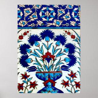 ヴィンテージの旧式な花柄の抽象芸術のトルコ人のタイル ポスター