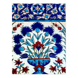 ヴィンテージの旧式な花柄の抽象芸術のトルコ人のタイル ポストカード