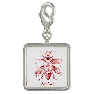 ヴィンテージの昆虫のイメージ のカブトムシ の赤 チャーム