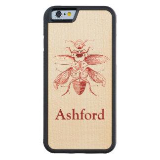 ヴィンテージの昆虫のイメージ|のカブトムシ|の赤 CarvedメープルiPhone 6バンパーケース