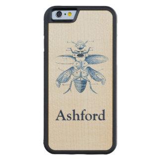 ヴィンテージの昆虫のイメージ|のカブトムシ|の青 CarvedメープルiPhone 6バンパーケース