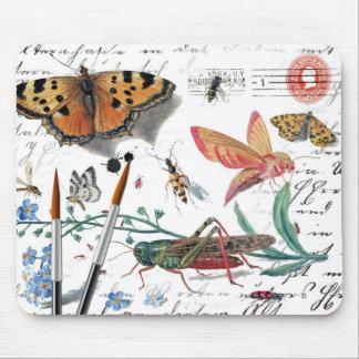 ヴィンテージの昆虫の手紙および消印 マウスパッド