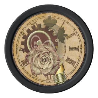 ヴィンテージの時計のコラージュ ポーカーチップ