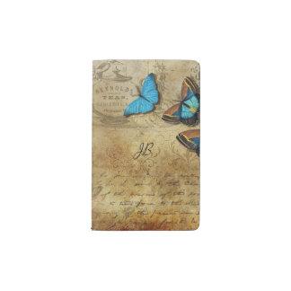ヴィンテージの書くことおよび蝶 ポケットMoleskineノートブック