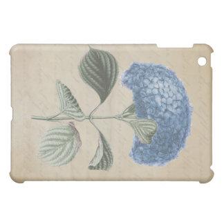 ヴィンテージの書道の紙の青いアジサイ iPad MINI カバー