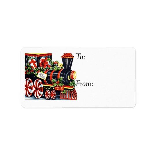 ヴィンテージの最高のな願いのクリスマスの列車のギフトのラベル 宛名ラベル