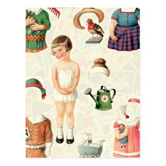 ヴィンテージの最高のペーパー人形のキャンディ ポストカード