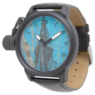 ヴィンテージの木の青いエッフェル塔 腕時計