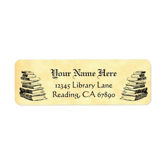 ヴィンテージの本のカスタムな差出人住所ののどの羊皮紙 返信用宛名ラベル