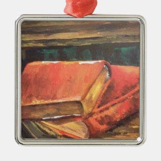 ヴィンテージの本のクリスマスのオーナメントの絵画 メタルオーナメント