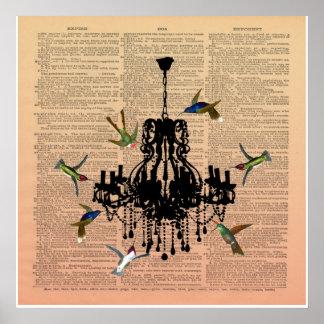 ヴィンテージの本のページのハチドリのシャンデリアポスター ポスター