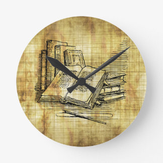 ヴィンテージの本 ラウンド壁時計