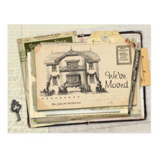 ヴィンテージの机の郵便はがきの引っ越しました ポストカード