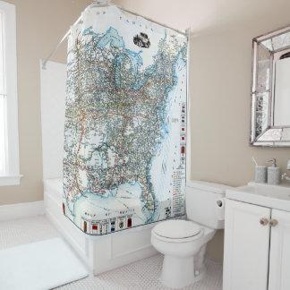 ヴィンテージの東米国の旧式なハイウェーの地図 シャワーカーテン