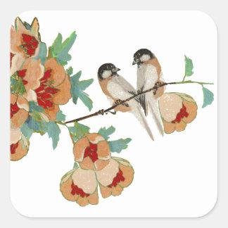 ヴィンテージの桜愛鳥のモモのミント スクエアシール