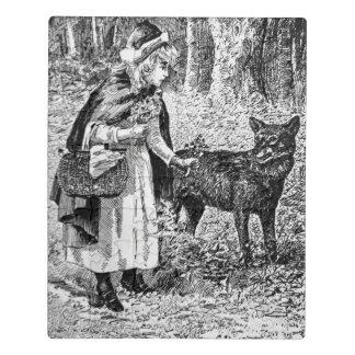 ヴィンテージの森のオオカミの白黒の赤い乗馬フード ジグソーパズル
