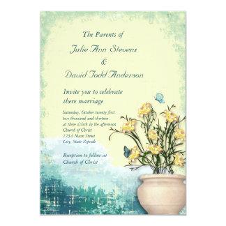 ヴィンテージの植木鉢及び蝶結婚式 12.7 X 17.8 インビテーションカード