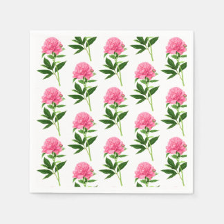 ヴィンテージの植物のプリント、パステル調ピンクのシャクヤク スタンダードカクテルナプキン